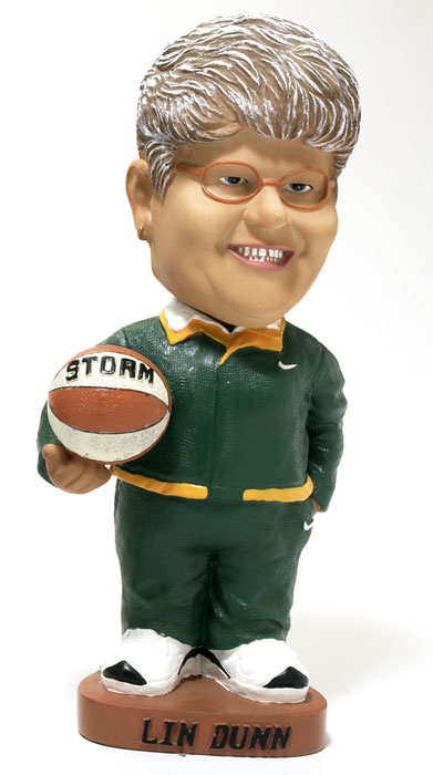 Former Seattle Storm and current Indiana Fever coach Liz Dunn looks ready for action with her bobblehead.