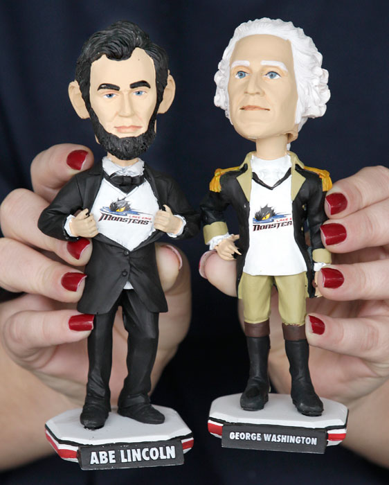 The AHL's Lake Erie Monsters celebrate President's Day with Abraham Lincoln and George Washington bobbleheads.