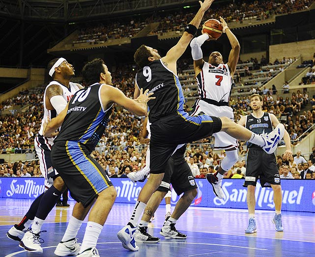 Russell Westbrook pushed the pace all game against Argentina, tallying 13 points, many of which came on the fast break.