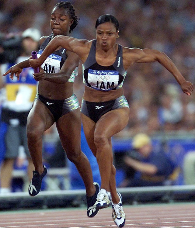 She's now Campbell-Brown, but before marriage the two-time Olympic 200-meter champion won her first medal at the Sydney Games, a silver in the 4x100 relay (left, handing off to Beverly McDonald). The 40-year-old anchor on that Jamaican relay, Merlene Ottey, competed in her first Olympics two years before Campbell-Brown, then 18, was born.
