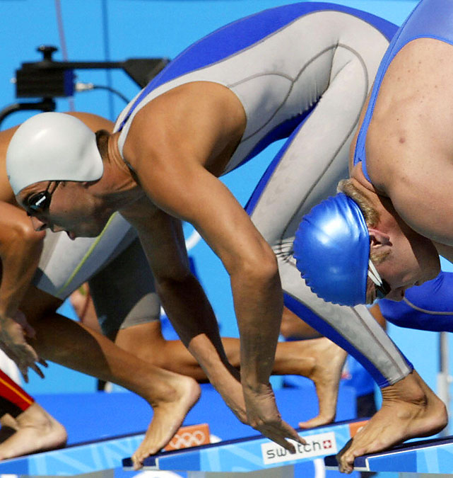 Cavic, famously out-touched by Michael Phelps in the 2008 100-meter butterfly, actually made his Olympic debut in 2000 at age 16, but good luck finding photos from his two Sydney races (one DQ, one seventh-place finish in a heat). He was a bit better in 2004, reaching the semifinals of the 100 fly.