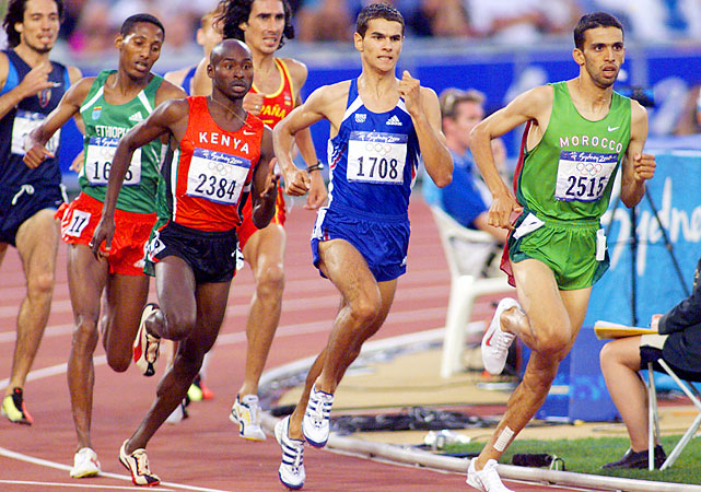 Lagat, set to compete in his second Olympics as an American, suited up for Kenya in 2000 and 2004. In 2000, he took bronze in the 1,500 behind Kenyan teammate Noah Ngeny, who upset world-record holder and Moroccan legend Hicham El Guerrouj (right).