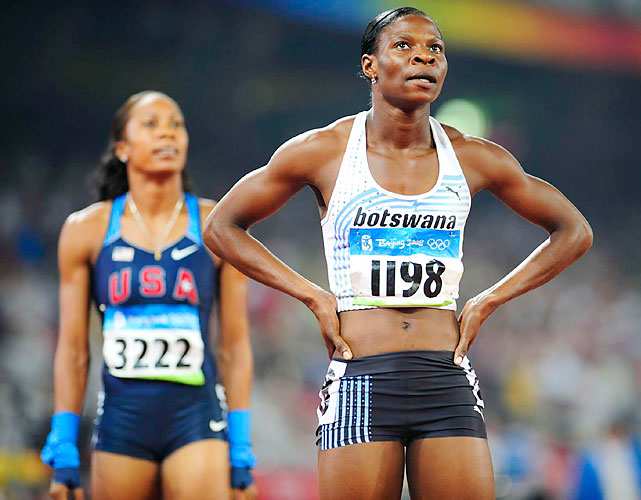 Montsho has been one of track and field's sensations since the Beijing Olympics. A late bloomer, she won the world title in the 400 meters last year at age 28 and could win Botswana's first Olympic medal. It will be her third Olympics. In 2004, she was eliminated in the first round of the 400. In 2008, she reached the final and placed eighth.