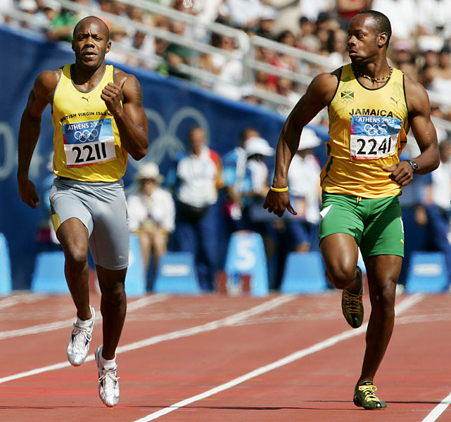 Powell (right) was thought to be a medal threat in this first Olympics but placed fifth in the 100 meters in a premonition of future head-scratching major championship disappointments. Powell made headlines in 2004 for looking left and right in his first round and quarterfinal and throwing down the fastest semifinal time (9.95) before falling short in the final. He qualified for the 200 final in Athens but pulled out with a hamstring injury. Powell, entering his third Olympics, has yet to win an individual Olympic medal.