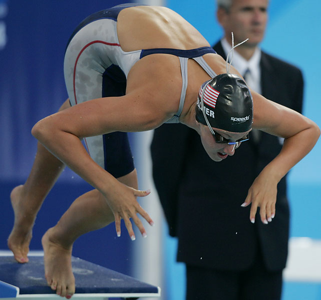 The youngest competitor at the 2000 Olympic trials (12), Vollmer made the Olympics as a rising high school junior four years later and won a gold medal as part of the 4x200 free relay and placed sixth in the individual 200 free. She's become the best 100-meter butterfly swimmer in the world and will be favored to win gold in London.