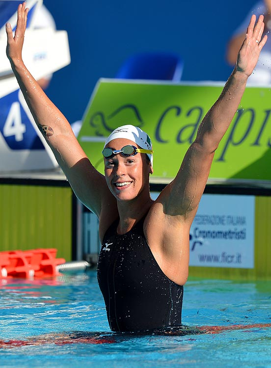 The 23-year-old Italian swimmer is the current world-record holder in both the women's 200- and 400-meter freestyle.  She disappointed in the 400 in Beijing, but was able to set the aforementioned 200 world record en route to gold.