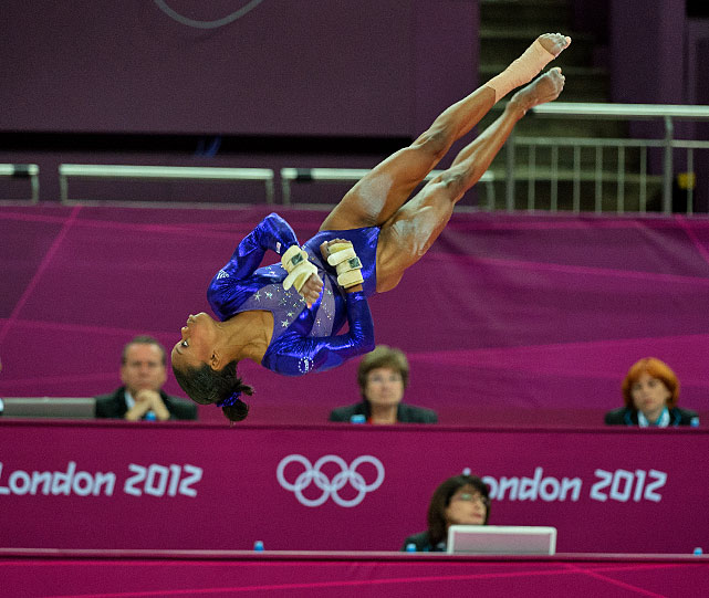 Gabby Douglas of the U.S. overcame an overstep on the floor exercise to qualify for Thursday's all-around final.