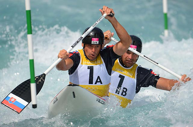Slovakia's Pavol and Peter Hochschorner try to get the better of the rapids in the first round of the men's double canoe competition.