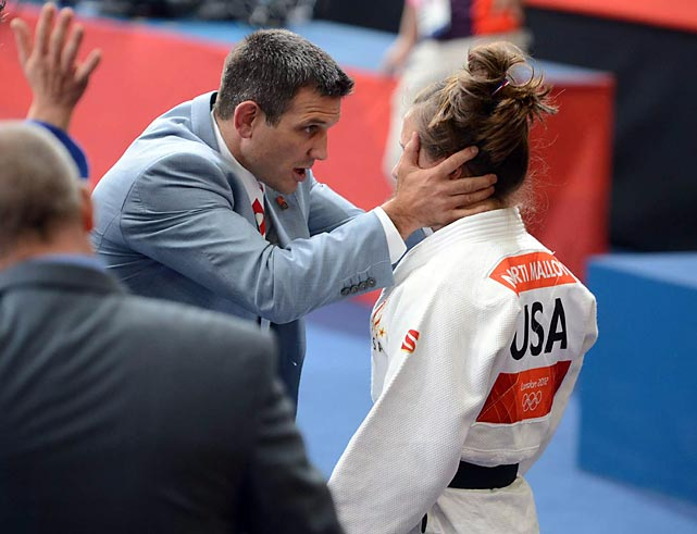 After U.S. judoka Marti Malloy lost her repechage match in the 57-kilogram class, her coach Jimmy Pedro, a two-time bronze medalist, helped her get a grip. Malloy came back to claim a bronze of her own on an ippon over Italy's Giulia Quintavalle -- only the second judo medal for a U.S. woman.
