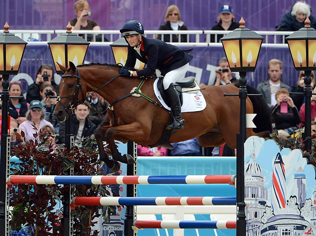 Riding (fittingly) High Kingdom, Zara Phillips, granddaughter of Queen Elizabeth II, completed her showjumping round on the way to a silver medal for Great Britain in team eventing.