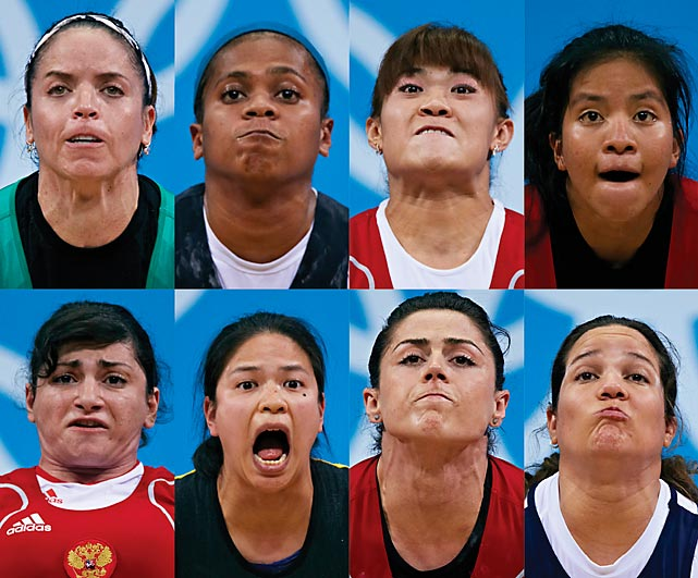 The strain of their task came through loud and clear on the faces of the competitors in the women's 63-kilogram weightlifting  event. Maiya Maneza of Kazakhstan (top row, second from right) took the gold with an Olympic record total of 245 kilograms.