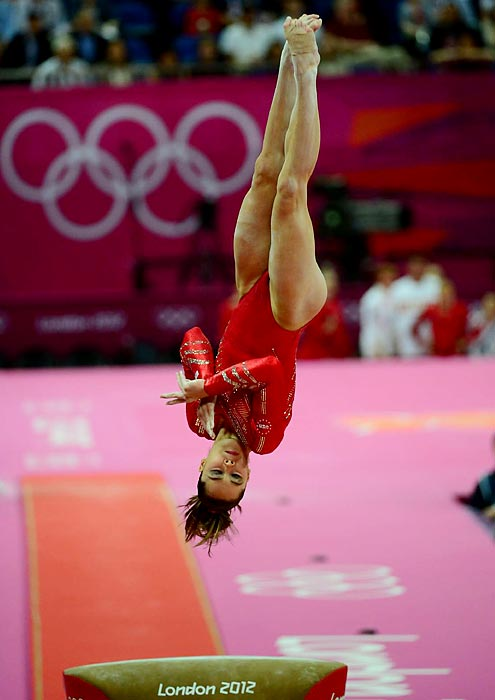 The U.S. team began its quest for gold all-around with a series of vaults. Going into the final rotation, Team USA lead Russia by 1.3 points. After some errors by the Russian team during floor exercise, the U.S. women won the gold medal in team finals.