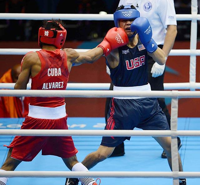 Lazaro Alvarez Estrada of Cuba defeated American boxer Joseph Diaz Jr. during their Bantamweight (56kg) match.