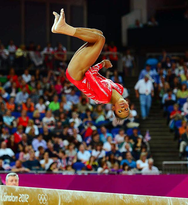 Gabby Douglas keeps her eyes on the beam during her routine for the Team Final competition. After a disappointing fall on the balance beam during the Visa Championships earlier this year, Douglas posted a solid 15.233 on beam.