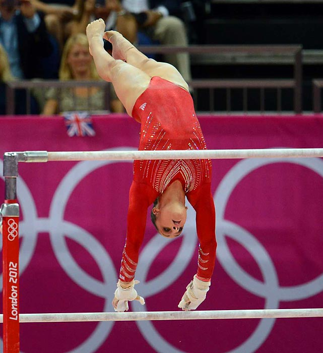 Reigning World Champion Jordyn Wieber performs her uneven bar routine during Team Finals. Wieber, who was knocked out of the running for Olympic individual all-around, still strengthened the team, competing in all events except balance beam.