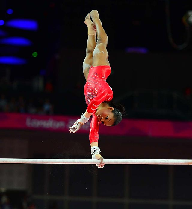Gabby Douglas anchored her team on uneven bars, completing one of her most solid routines in her career.
