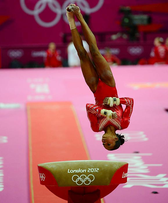 Douglas vaulted second for Team USA and nailed her landing, helping the team get off to an impressive start.