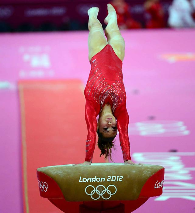 McKayla Maroney competed in only one event at Team Finals: the vault, in which she is the uncontested world champion. Maroney is the only specialist on the team and is expected to take the individual gold in vault.