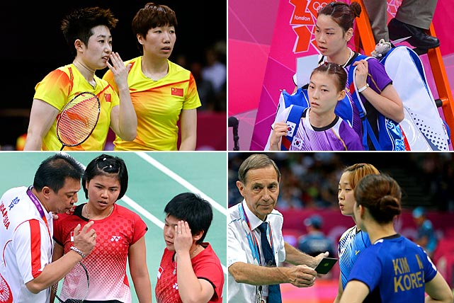 Eight female badminton doubles players were disqualified from the Olympics after intentionally trying to lose matches for more favorable seeding. A match between South Korea and China at Wembley Arena was loudly booed after players served balls into the net and hit easy shots out of bounds. The two teams were trying to avoid playing on the same side of the bracket as the other top-ranked Chinese team. The Badminton World Federation announced its ruling after investigating two teams from South Korea, one from China and one from Indonesia.