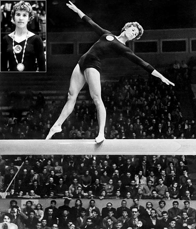 A Soviet Union gymnast, Latynina held the record of 18 ever since the 1964 Olympics in Tokyo.  She was the main force in established a long-lived dominance in gymnastics by the Soviet Union.  She still holds the record for most individual medals with 14.