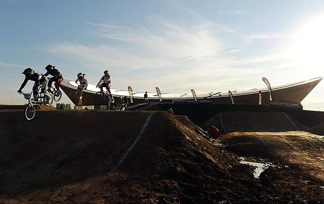 Located in the northern section of Olympic Park, the new 1,300-foot BMX Track will host two BMX events during the Games. The vivid velodrome sits behind the open-air BMX stadium.