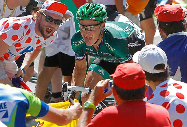 Thomas Voeckler took control of the painful climbs in stage 16, not censoring his facial expressions, and won the polka dot jersey.