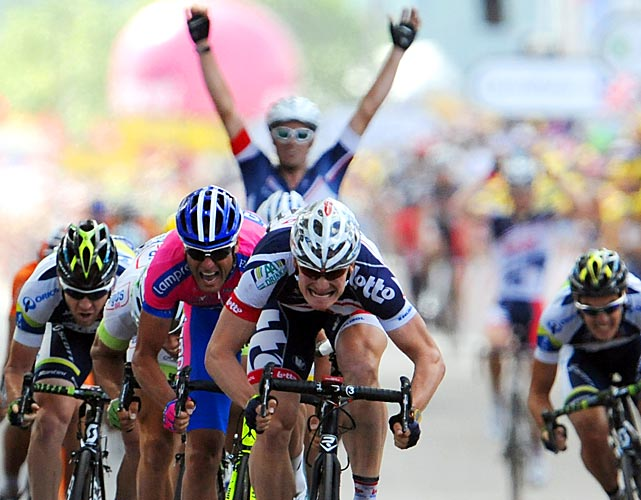 After British rival Mark Cavendish crashed, Andre Greipel emerged as the winner of the 133-mile stage along the English Channel from Abbeville to Rouen, France.