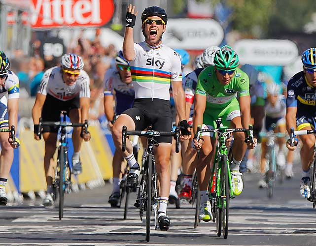 With Bradley Wiggins having nearly clinched the Tour de France victory, Mark Cavendish sprinted to the finish of Stage 20 to win his third stage of the Tour and the 23rd of his career.