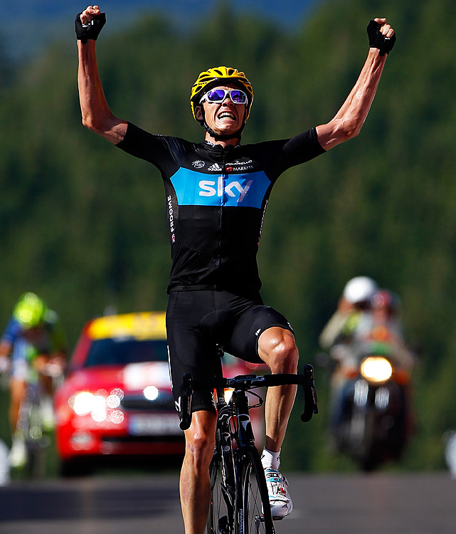 In the first summit finish of the Tour, Chris Froome won the 123-mile trek from Tomblaine up to the Vosges mountains ski station of La Planche des Belles Filles. On the final climb, the Kenyan-born cyclist burst ahead to finish two seconds ahead of Cadel Evans and overall leader Bradley Wiggins.