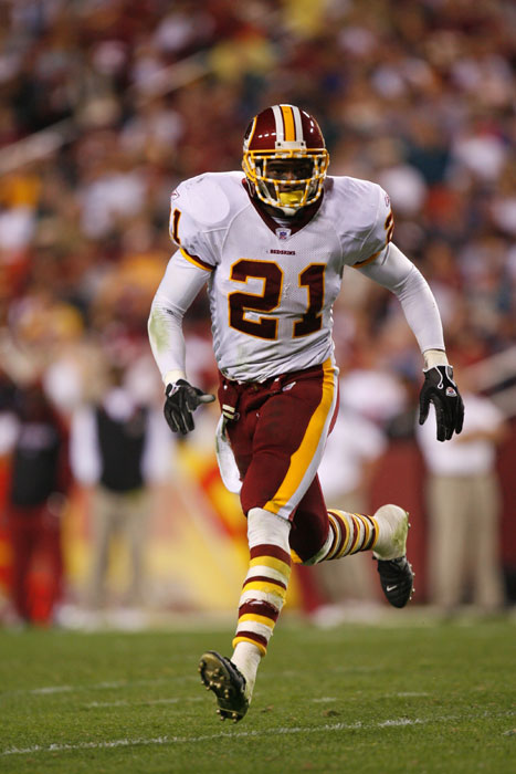 Redskins' Sean Taylor (21) follows the ball on defense against the rival Philadelphia Eagles.  The Redskins drafted Taylor with the fifth overall pick in the 2004 NFL Draft, and he quickly became a fantastic player, known for his earth-shattering hits.  In 2007, Taylor died tragically from gunshot wounds after intruders had entered his Miami home.
