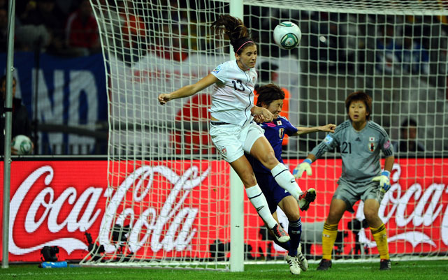 Morgan heads a ball during the FIFA Women's World Cup Final match between Japan and USA in July 2011.