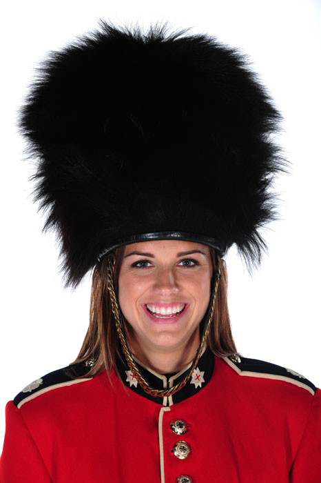 Morgan poses as a London palace guard during a photo shoots at Smashbox West Hollywood in November 2011.