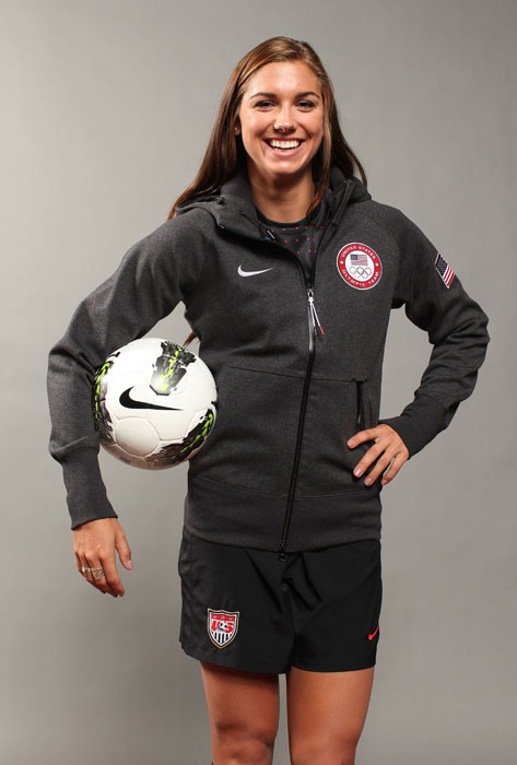Morgan poses in her national team jersey for a portrait for the US Women's National Team.