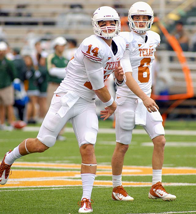 The Longhorns stumbled to a 4-5 record in the Big 12 last year, at least partly because of the team's quarterback play. Texas has been unable to replace Colt McCoy's success at the position, and it looks like the squad will again have Case McCoy (Colt's younger brother) and David Ash split time at the position. McCoy was the better passer last season -- throwing more TDs and fewer interceptions -- but Ash is a dual threat. The Longhorns' success will depend on whether the two can both operate efficiently in the system.