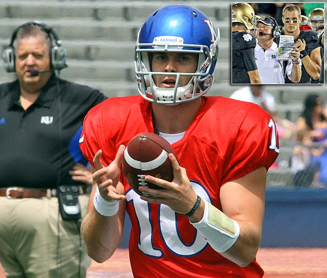 Crist headed to Notre Dame in 2008 as one of the nation's top quarterback recruits to play for Charlie Weis. But Weis was out a year later and Crist had two season-ending knee injuries and then lost the starting job halfway through the opener. Now the two are reunited in Lawrence as Crist transferred to Kansas, where he'll be counted on to raise an offense that ranked 106th in FBS in '11.