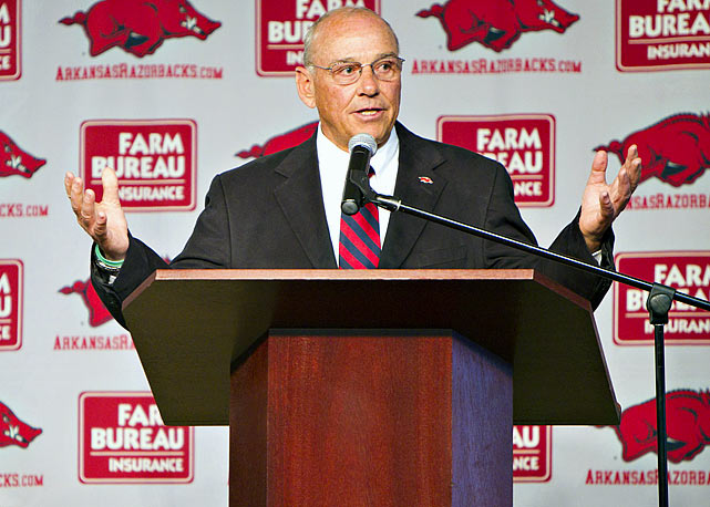 After Bobby Petrino was fired in April for hiring his mistress for a coveted position and lying about it, the Razorbacks turned to Smith, a former Michigan State head coach who had been an assistant at Arkansas. Smith's experience as a head coach and familiarity with the program made him a solid fit on short notice. But the Razorbacks also turned over a national title contender -- the team is No. 10 in the USA TODAY preseason poll --  to a coach who went 22-26 with the Spartans. His 10-month contract also means recruiting could take a hit.