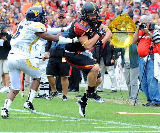 His 104 yards versus Clemson were the most for a Maryland tight end since Vernon Davis.