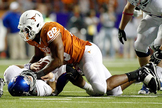 The other half of Texas's impressive tandem of outside pass rushers, the 6-foot-4, 260-pound Okafor had a career-best seven sacks to go along with 17 quarterback pressures and two forced fumbles.