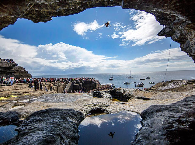 Steven LoBue of the United States dives from the 28-meter platform during the fourth stop of the Red Bull Cliff Diving World Series in the Aran Islands, Ireland.