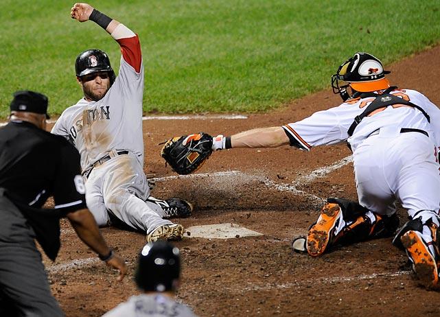 Boston's Dustin Pedroia safely slidespast Baltimore catcher Matt Wieters.