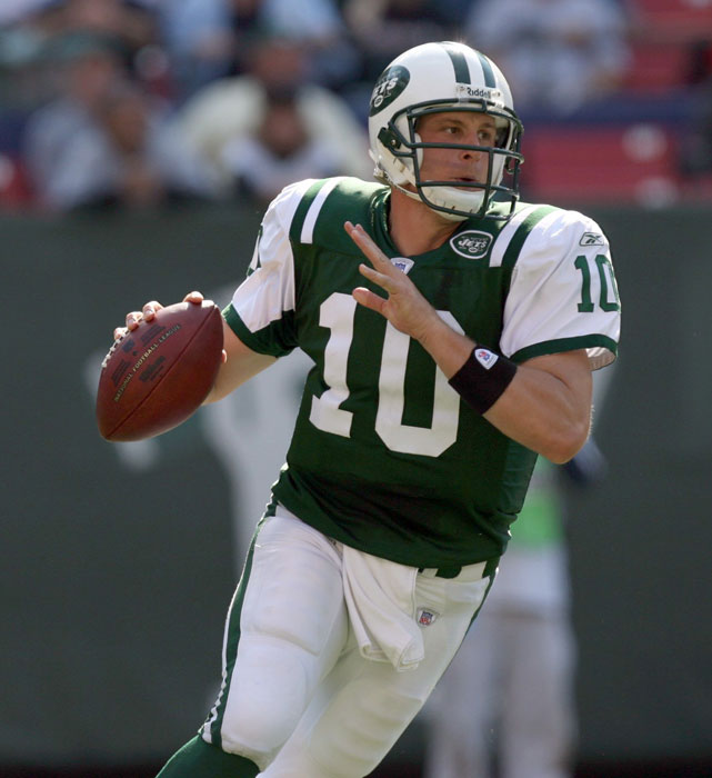 Jets quarterback Chad Pennington rolls out of the pocket during a game against the Colts.