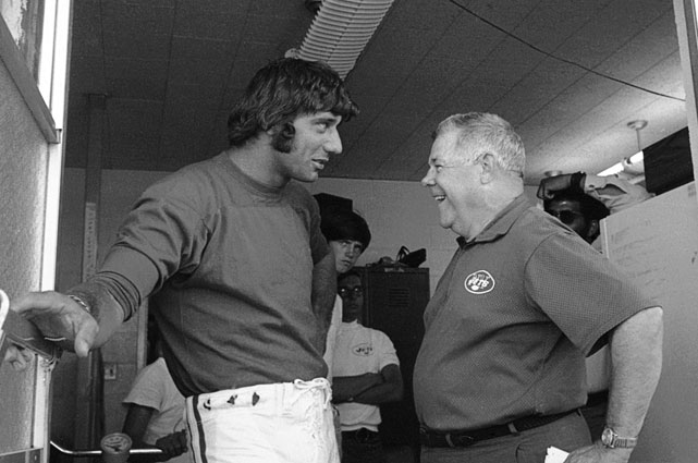 Joe Namath talks with Coach Weeb Ewbank at the Jets training camp in August 1970.