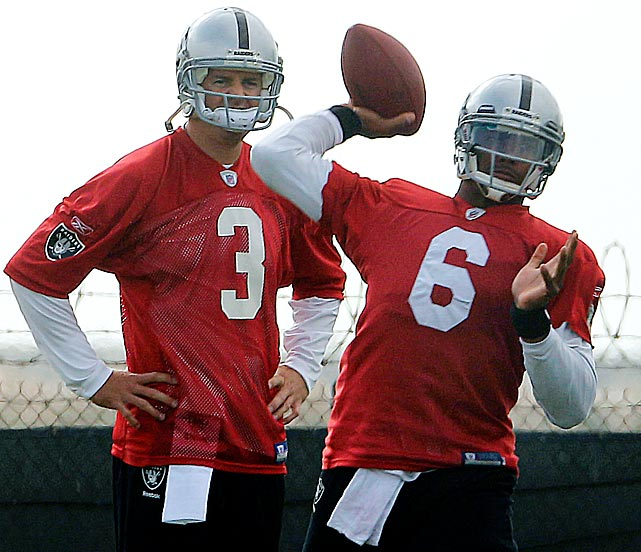 Oakland's Carson Palmer will be benched at some point in the first month of the season, and don't be surprised if it's the still-raw Terrelle Pryor -- and not backup Matt Leinart -- who winds up giving the Raiders offense the spark it's looking for. The panic trade ex-Oakland head coach Hue Jackson made last October looks worse all the time.