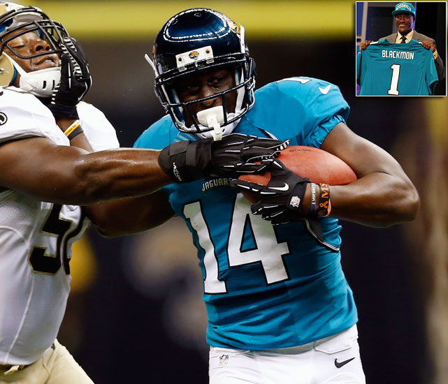 The Jaguars' leading receiver in 2011 was tight end Marcedes Lewis, and the passing game has been a mess for years now, a deficiency that made it harder for Blaine Gabbert to succeed as a rookie. So the front office had no trouble trading up two picks to draft the highly touted Justin Blackmon out of Oklahoma State. Unfortunately for the Jaguars, Blackmon was arrested for a DUI not even two months after the draft, then held out the start of training camp, becoming the last first-rounder to sign.