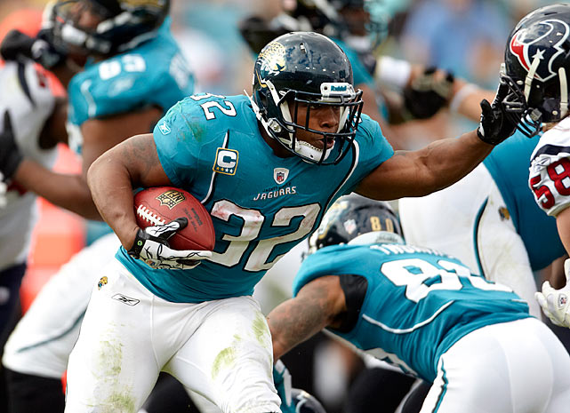 Allowing their starting tailback to sit out rather than renegotiate MJD's current contract, Jacksonville is trying to send a message to the league's reigning rushing champion. Meanwhile, for his forthcoming seventh season, Jones-Drew wants more than the two years and $9 million remaining on the original five-year, $31 million contract. If this impasse continues, expect a direct impact on the Jags record, not to mention it stunting the development of second-year quarterback Blaine Gabbert without the Pro Bowler behind him to relieve pressure from opposing defenses.