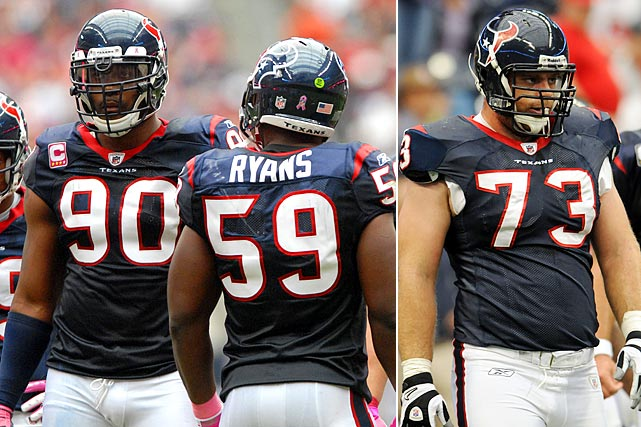 The No. 2-ranked defense last season by many statistical categories allowed two potentially significant pieces leave in Mario Williams, the No. 1 pick from the 2006 Draft, and fellow two-time Pro Bowl selection DeMeco Ryans. Williams missed 11 games with a torn pectoral muscle and Ryans had a diminished role when defensive coordinator Wade Phillips switched to a 3-4 scheme, but both are undoubtedly talented and were considered team leaders. Perhaps the most surprising move was cutting Winston, a 16-game starter five seasons running at right tackle, which was seen as simply a cost-cutting decision.