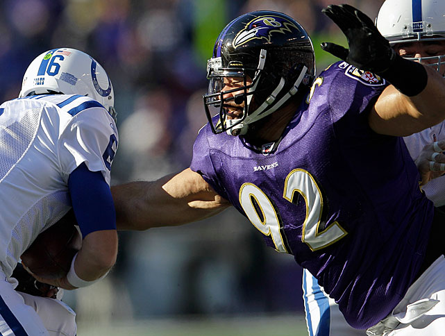 The big 6-foot-5, 340-pound Haloti Ngata is a hefty force in the middle of the Ravens' 3-4 defense.  As a defensive tackle, his job is to occupy as many offensive linemen as possible, which requires a high motor and a reputation for shedding the blockers in front of him.  His hard work has earned him a spot in the Pro Bowl three times.