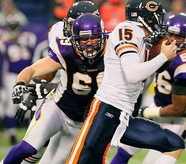 The man's got a motor that never stops. One of the more intense, electric and entertaining players in the league, Jared Allen is also one of the best pass rushers. He's topped 10 sacks in six of his eight seasons, almost breaking the single-season sack record in 2011 with 22. Along the way, he's been named to four All-Pro teams, and is on the list of the 50 Greatest Vikings of all-time despite only being on the team for four seasons.