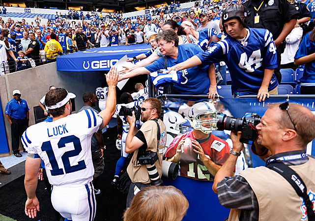 Andrew Luck, the overall No. 1 pick, may have Colts' fans forgetting Peyton Manning sooner than expected. On his first NFL snap, he threw a screen pass that was taken 63 yards for a score. He finished with 10 completions for 188 yards and two touchdowns in a 38-3 win over the Rams.