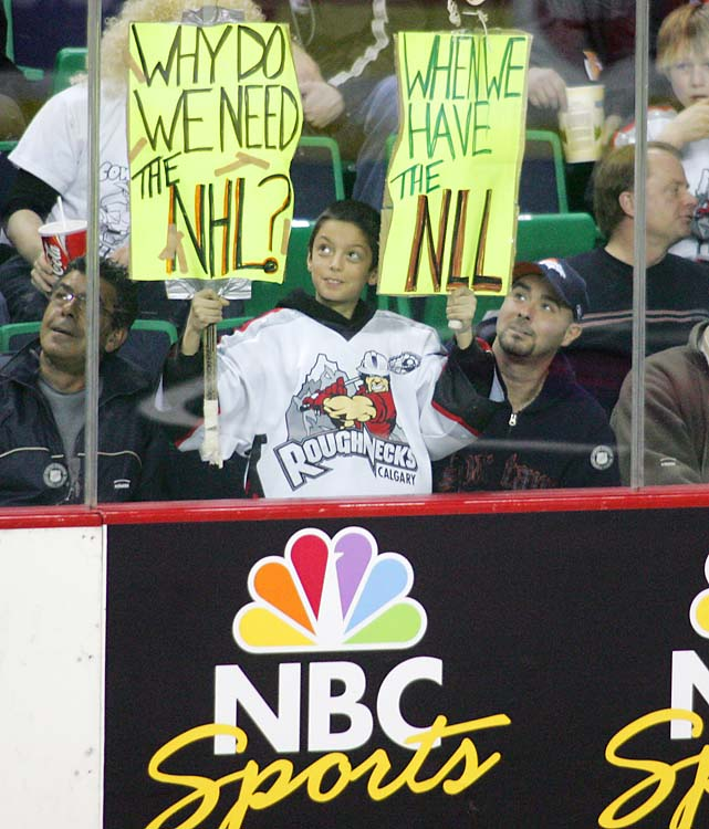 A young lacrosse fan gives his opinion on the NHL lockout during the National Lacrosse League All-Star game at the Saddledome in Calgary, Alberta, usually the home of the Flames.